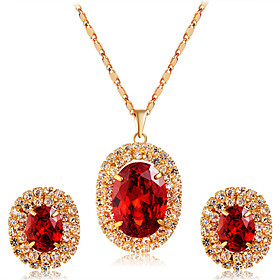 Women's Red Crystal Jewelry Set Gold Plated, Imitation Diamond Artistic, Luxury, Romantic Include Pendant Necklace Earrings Red For Party Engagement Formal / 3