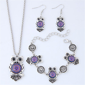 Women's Classic Jewelry Set Resin Owl Vintage, European, Fashion Include Drop Earrings Bracelet Long Necklace Purple / Red / Blue For Gift Daily