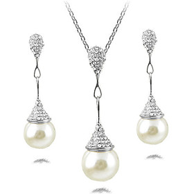 Women's Jewelry Set Imitation Pearl Simple, European, Fashion Include Necklace Earrings Gold / Silver For Party Daily