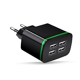Cwxuan Portable Charger USB Charger EU Plug Multi-Output 4 USB Ports 2.1 A 100~240 V for iPhone X / iPhone 8 Plus / iPhone 8