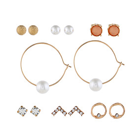 Women's Round Cut Earrings Set Imitation Pearl Imitation Diamond Earrings Simple European Fashion Jewelry Gold For Daily 1 set
