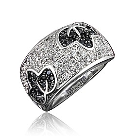 Women's Clear Cubic Zirconia Classic Ring 18K Gold Plated Imitation Diamond Leaf Stylish Luxury Romantic Fashion Elegant Ring Jewelry Silver For Party Engageme