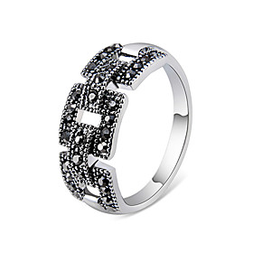 Couple's Black Cubic Zirconia Ring Copper Silver Plated Imitation Diamond Stylish Artistic Unique Design Ring Jewelry Silver For Daily Evening Party Formal 6 /