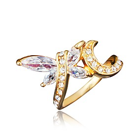 Women's Clear Cubic Zirconia Classic Ring 18K Gold Plated Imitation Diamond Dragonfly Stylish Luxury Romantic Fashion Elegant Ring Jewelry Gold / Silver For Pa