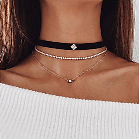 Women's Layered Necklace Leather Imitation Diamond Trendy Gold 30 cm Necklace Jewelry 2pcs For Engagement Street Going out Club Bar