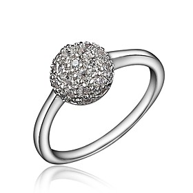 Women's Clear Cubic Zirconia Classic Ring 18K Gold Plated Imitation Diamond Ball Stylish Luxury Romantic Fashion Elegant Ring Jewelry Gold / Silver For Party E