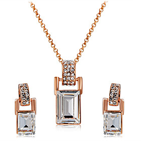 Women's Clear Crystal Jewelry Set Rose Gold Plated, Imitation Diamond Artistic, Unique Design, Cute Include Drop Earrings Pendant Necklace Champagne For Engage