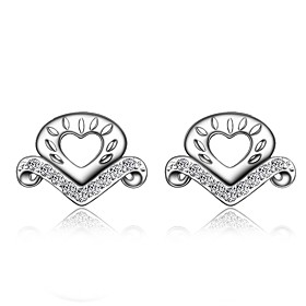 Women's Clear Cubic Zirconia Classic Stud Earrings Earrings Silver Plated Earrings Heart Trendy Romantic Fashion Elegant Jewelry Silver For Birthday Engagement