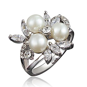 Women's Clear Cubic Zirconia Classic Ring 18K Gold Plated Pearl Imitation Diamond Flower Stylish Luxury Romantic Fashion Elegant Ring Jewelry Gold / White For