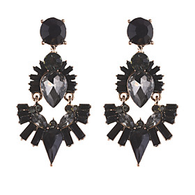 Women's Crystal Briolette Drop Earrings Earrings Drop Luxury Classic Elegant Jewelry Black / Dark Blue / Champagne For Ceremony Evening Party Festival 1 Pair
