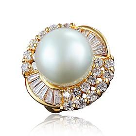Women's Clear Cubic Zirconia Classic Ring Engagement Ring 18K Gold Plated Pearl Imitation Diamond Stylish Luxury Romantic Fashion Elegant Ring Jewelry Gold / W