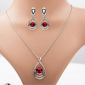 Women's Synthetic Amethyst Jewelry Set Rhinestone Pear Stylish Include Drop Earrings Necklace Red / Green / Blue For Daily Festival
