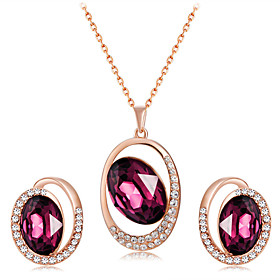 Women's Fuchsia Crystal Jewelry Set Rose Gold Plated, Imitation Diamond Unique Design, Romantic, Fashion Include Pendant Necklace Earrings Dark Red For Party E