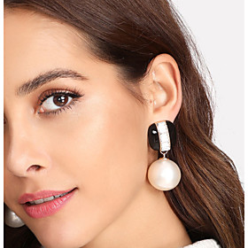 Women's Geometrical Drop Earrings Imitation Pearl Earrings Stylish Jewelry Black / Dark Red For Wedding Evening Party 1 Pair