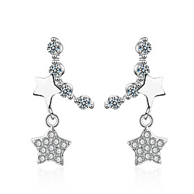 Women's Clear Cubic Zirconia Stardust Earrings Platinum Plated Imitation Diamond S925 Sterling Silver Earrings Star Holiday Trendy Korean Jewelry Silver For Gi