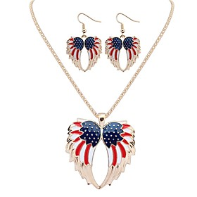 Women's Jewelry Set Angel Wings Korean Include Drop Earrings Necklace Gold / Silver For Daily