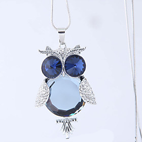 Women's Pendant Necklace Long Necklace Imitation Diamond Owl European Fashion Blue 70 cm Necklace Jewelry 1pc For Daily