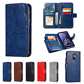 Nillkin Case For Samsung Galaxy A8 Plus 2018 / A6 (2018) Wallet / Card Holder / with Stand Full Body Cases Solid Colored Hard PU Leather for A5(2018) / A6 (201
