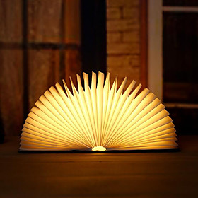 1pc Portable USB Rechargeable Night Light Decorative Wooden Book LED Lamp Folding Warm White Bed Lamp Desk Lamp Creative Gift