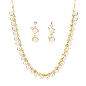 Women's Cubic Zirconia Classic Jewelry Set Imitation Pearl Vintage, Elegant Include Drop Earrings Pearl Necklace Gold For Wedding Party Ceremony