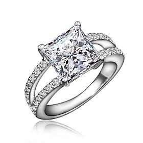 Women's Clear Cubic Zirconia Classic Ring Engagement Ring 18K Gold Plated Imitation Diamond Stylish Luxury Romantic Fashion Elegant Ring Jewelry Gold / Silver