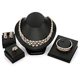 Women's Tassel Jewelry Set Pearl, Imitation Diamond Classic, Vintage, European, Elegant Include Cuff Bracelet Drop Earrings Pendant Necklace Bridal Jewelry Set