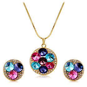 Women's Multicolor Crystal Jewelry Set Gold Plated, Imitation Diamond Stylish, Unique Design, Trendy Include Pendant Necklace Earrings Rainbow For Wedding Part