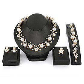 Women's Crossover Jewelry Set Pearl Vintage, European, Elegant, Victorian Include Stud Earrings Pendant Necklace Vintage Bracelet Bridal Jewelry Sets Open Ring