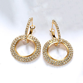 Women's Synthetic Diamond Stud Earrings Gold Plated Rose Gold Plated Earrings Believe Stylish Luxury Jewelry Black / Yellow / Rose Gold For Party Gift Date 1 P
