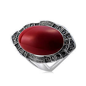 Women's Fuchsia Synthetic Opal Retro Statement Ring Ring Silver Plated Imitation Diamond Alloy Stylish Unique Design Trendy Ring Jewelry Wine / Dark Green For