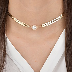 Women's Snake Choker Necklace Imitation Pearl Arrow Classic Vintage Elegant Cool Gold Silver 15.56.5 cm Necklace Jewelry 1pc For Ceremony Evening Party Festiva