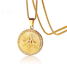 Men's Classic Pendant Necklace Steel Stainless Fashion Cool Gold 60 cm Necklace Jewelry 1pc For Gift Daily