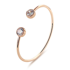Women's Cubic Zirconia Cuff Bracelet Simple Casual / Sporty Fashion Bracelet Jewelry Gold / Silver / Rose Gold For Street Office  Career