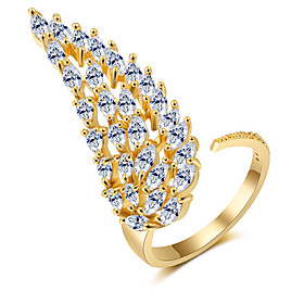 Women's AAA Cubic Zirconia Open Ring Wings Artistic Fashion Ring Jewelry Gold / Silver / Rose For Party Engagement Street Adjustable