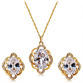 Women's Clear Crystal Hollow Out Jewelry Set Gold Plated, Imitation Diamond Stylish, Artistic, Unique Design Include Pendant Necklace Earrings Gold For Engagem
