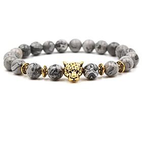 Men's Silver Gold AAA Cubic Zirconia Beaded Bead Bracelet Animal Hip-Hop Bracelet Jewelry Gold / Silver For Wedding Ceremony