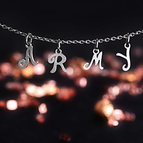Women's Pendant Necklace Stainless Steel Letter Simple Fashion Initial Cool Silver 455 cm Necklace Jewelry 1pc For Daily Office  Career