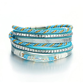 Women's Crystal Braided Leather Bracelet Bracelet Loom Bracelet Leather Trendy Ethnic Fashion Bracelet Jewelry Black / Gray / Blue For Holiday Going out Office