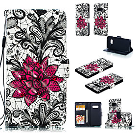 Case For Samsung Galaxy Galaxy S10 / Galaxy S10 E Wallet / Card Holder / with Stand Full Body Cases Lace Printing Hard PU Leather for S9 / S9 Plus / Galaxy S10
