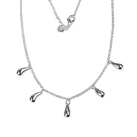 Women's Pear Cut Chain Necklace Necklace Charm Necklace Silver Plated Pear Simple Unique Design Romantic Sweet Cute Wedding Silver 46 cm Necklace Jewelry 1pc F