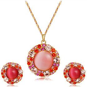 Women's Pink Crystal Jewelry Set Gold Plated, Imitation Diamond Statement, Artistic, Luxury Include Pendant Necklace Earrings Pink For Party Evening Party Form