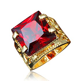 Women's Red Cubic Zirconia Classic Ring Engagement Ring 18K Gold Plated Imitation Diamond Stylish Luxury Romantic Fashion Elegant Ring Jewelry Gold For Party E