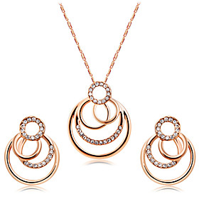 Women's Clear Cubic Zirconia Jewelry Set Rose Gold Plated, Imitation Diamond Unique Design, Sweet, Elegant Include Hoop Earrings Pendant Necklace Champagne For
