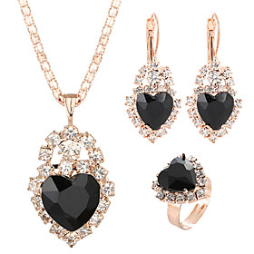 Women's Crystal Jewelry Set Heart Classic, Sweet, Elegant Include Drop Earrings Pendant Necklace Bridal Jewelry Sets Open Ring Red / Green / Blue For Wedding C
