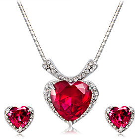 Women's Red Crystal Jewelry Set Silver Plated, Imitation Diamond Heart Artistic, Classic, Fashion Include Pendant Necklace Earrings Red For Party Ceremony Form
