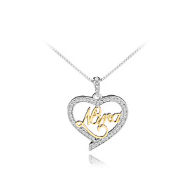Women's Cubic Zirconia Name Pendant Necklace Imitation Diamond Heart Letter Fashion Cute Initial Cute GoldenSilver 455 cm Necklace Jewelry 1pc For Gift Daily W
