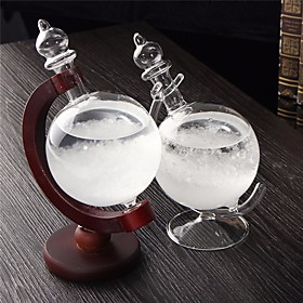 Christmas Gift Weather Forecast Crystal Bottle Globe Storm Home Desk Decor Wood Glass Base Novelties Toys