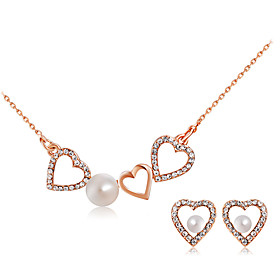 Women's White Pearl Hollow Out Jewelry Set Imitation Pearl, Rose Gold Plated, Imitation Diamond Heart Stylish, Artistic, Unique Design Include Pendant Necklace
