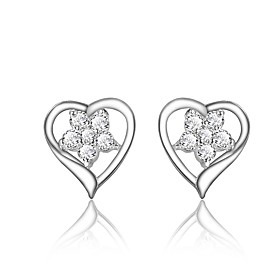 Women's Clear Cubic Zirconia Geometrical Earrings Silver Plated Earrings Heart Trendy Fashion Cute Elegant Jewelry Silver For Birthday Engagement Gift Daily Da