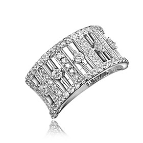 Women's Clear Cubic Zirconia Hollow Out Ring 18K Gold Plated Imitation Diamond Stylish Luxury Romantic Fashion Elegant Ring Jewelry Gold / Silver For Party Eng